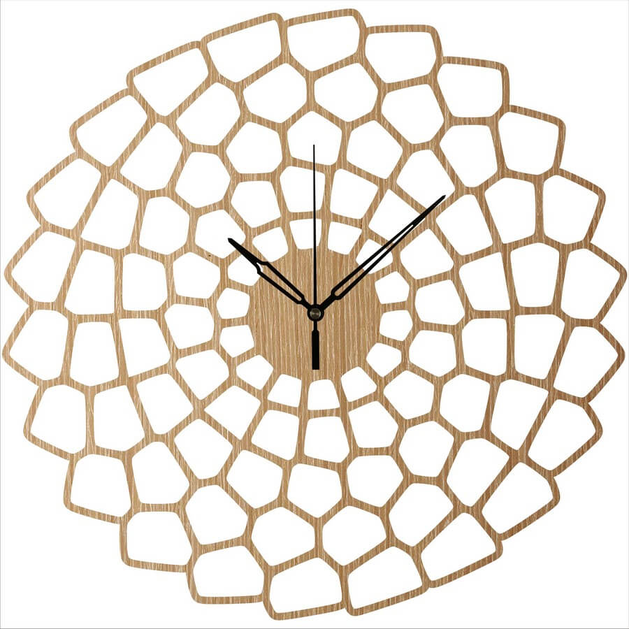 Wooden Wall Clock #6 - Laser Cutting Designs & Ideas