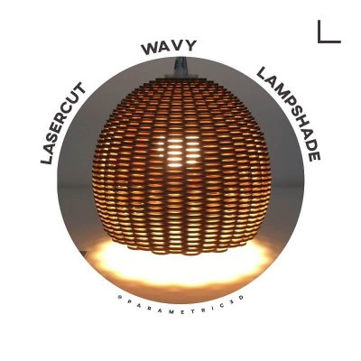 Lasercut Wavy Lampshade - Laser Cut Design