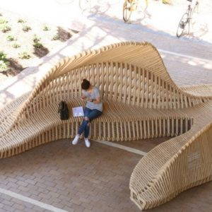 Articulated Timber Ground Parametric Public Furniture