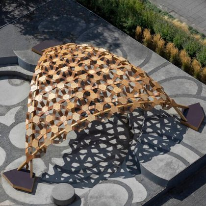 Experimental Biocomposite Pavilion, Segmented Shell Construction, Design, Material Development and Erection