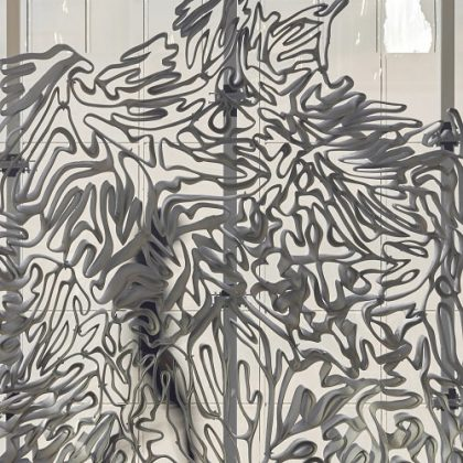 metal facade with 3D-printed mould