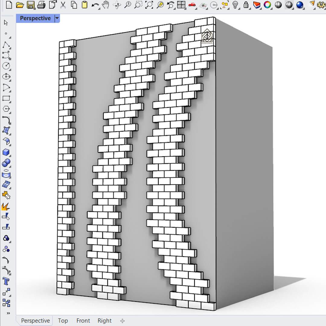 Rhino Grasshopper (Parametric brick facade)